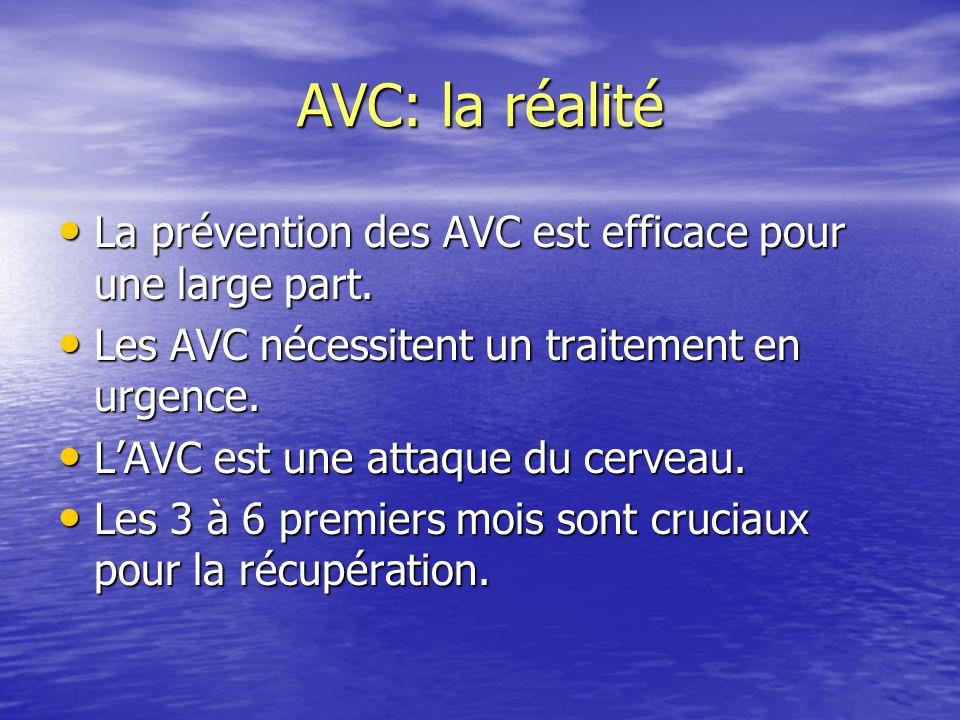 AVC: la réalité La prévention des AVC est efficace pour une large part. Les AVC nécessitent un traitement en urgence.