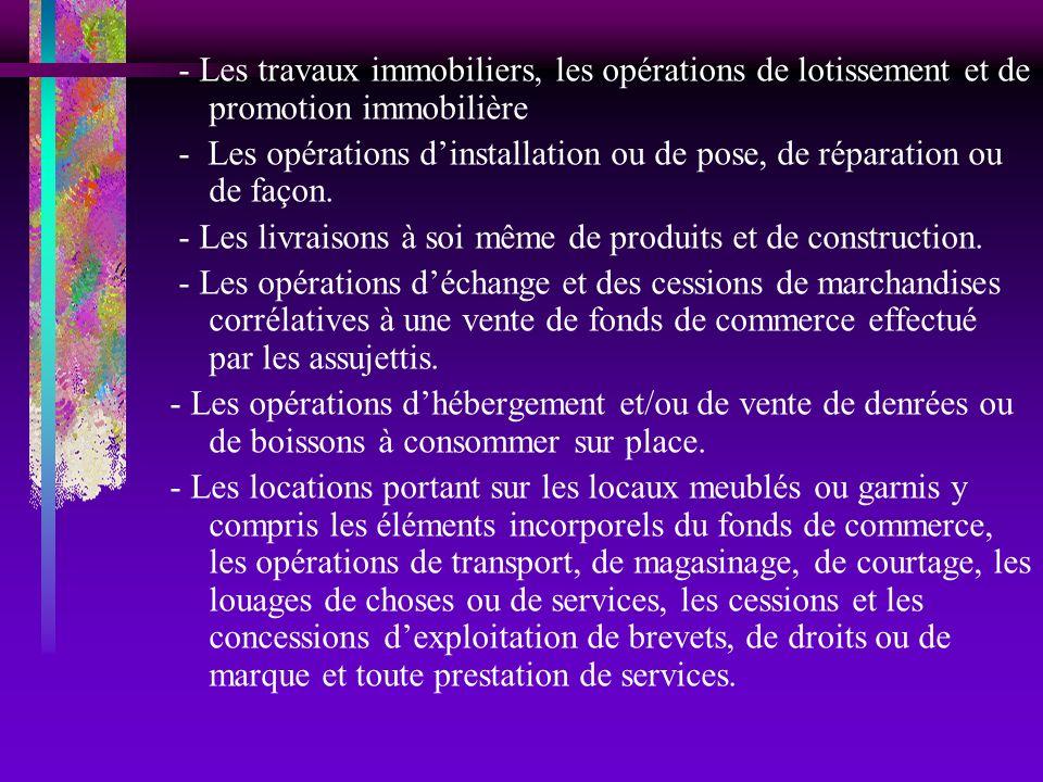 - Les travaux immobiliers, les opérations de lotissement et de promotion immobilière