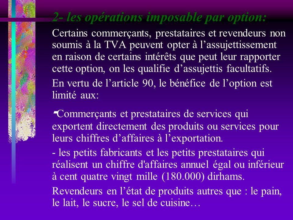 2- les opérations imposable par option: