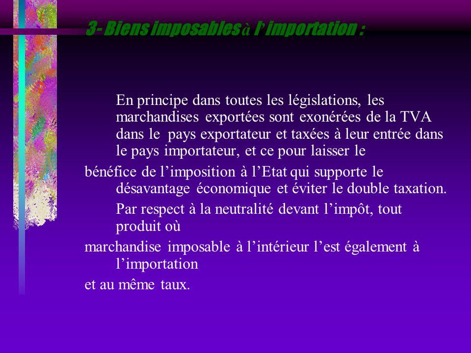 3- Biens imposables à l'importation :