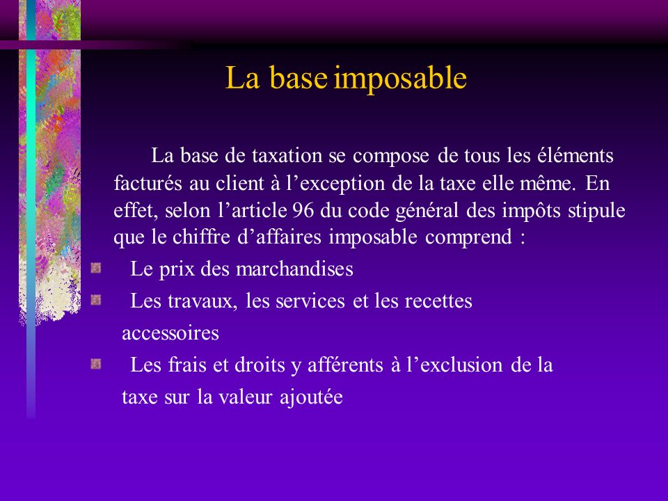 La base imposable