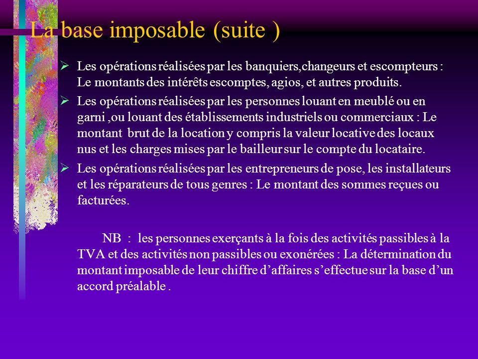 La base imposable (suite )