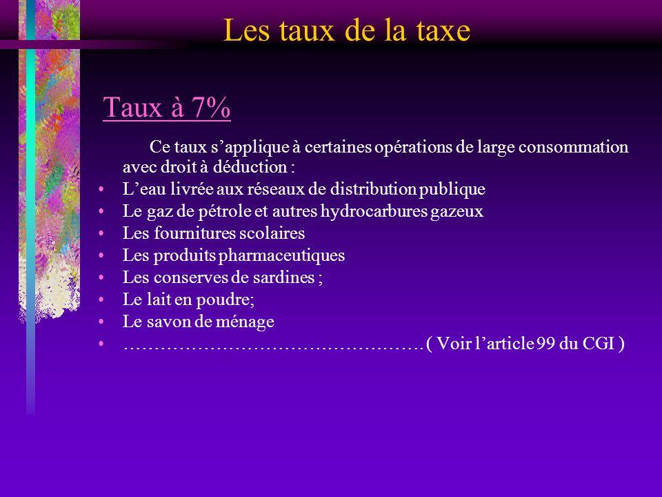 Les taux de la taxe Taux à 7%