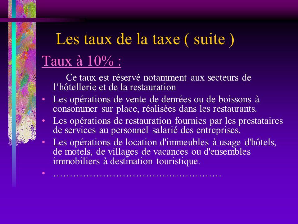 Les taux de la taxe ( suite )