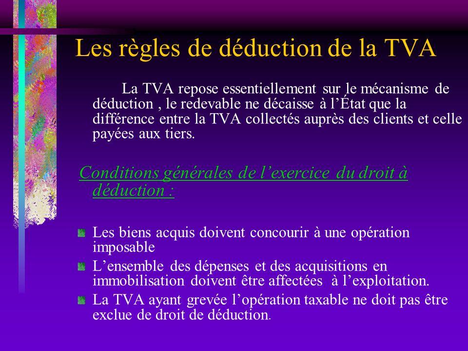 Les règles de déduction de la TVA