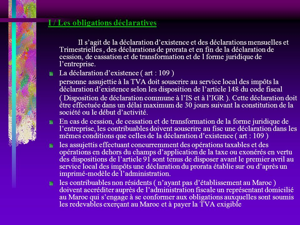 I / Les obligations déclaratives