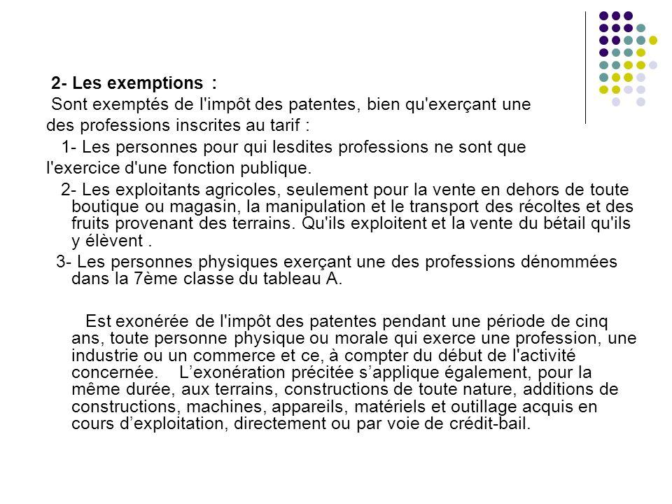2- Les exemptions : Sont exemptés de l impôt des patentes, bien qu exerçant une. des professions inscrites au tarif :