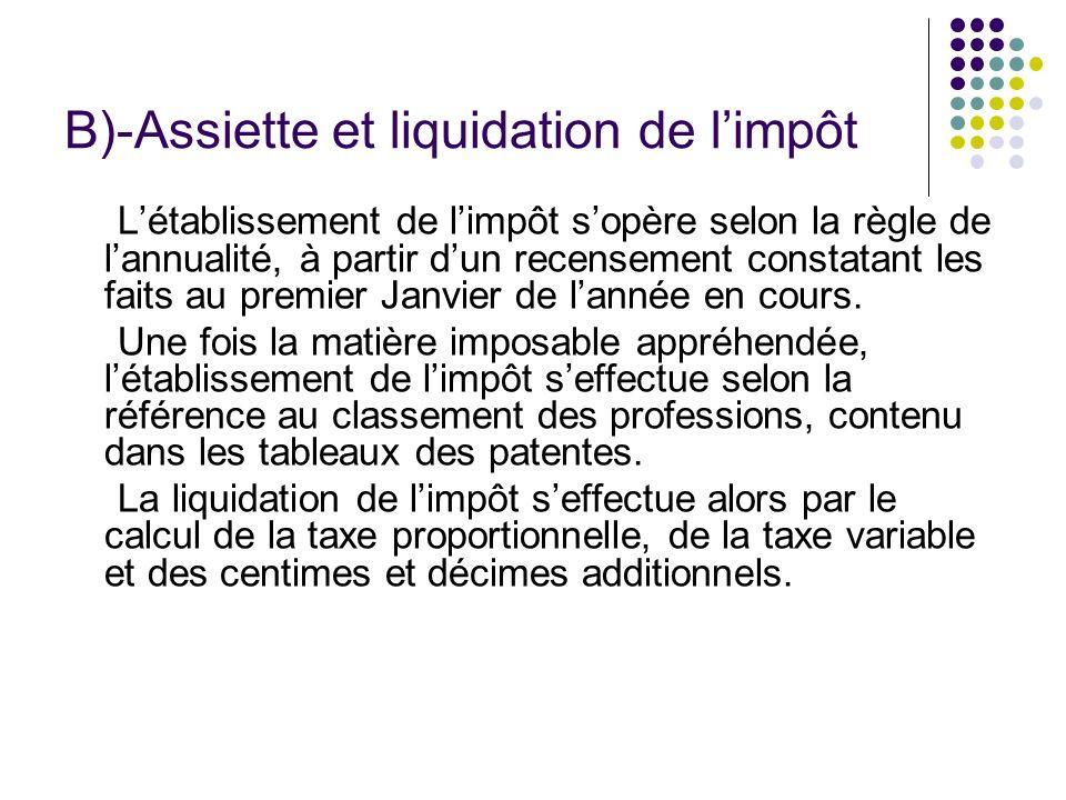 B)-Assiette et liquidation de l'impôt