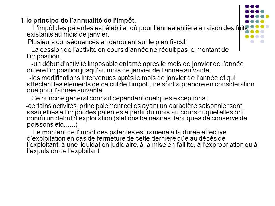 1-le principe de l'annualité de l'impôt.