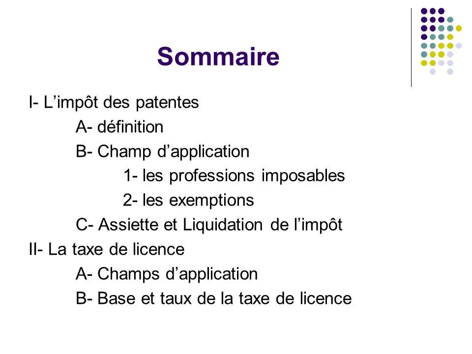 Sommaire I- L'impôt des patentes A- définition B- Champ d'application