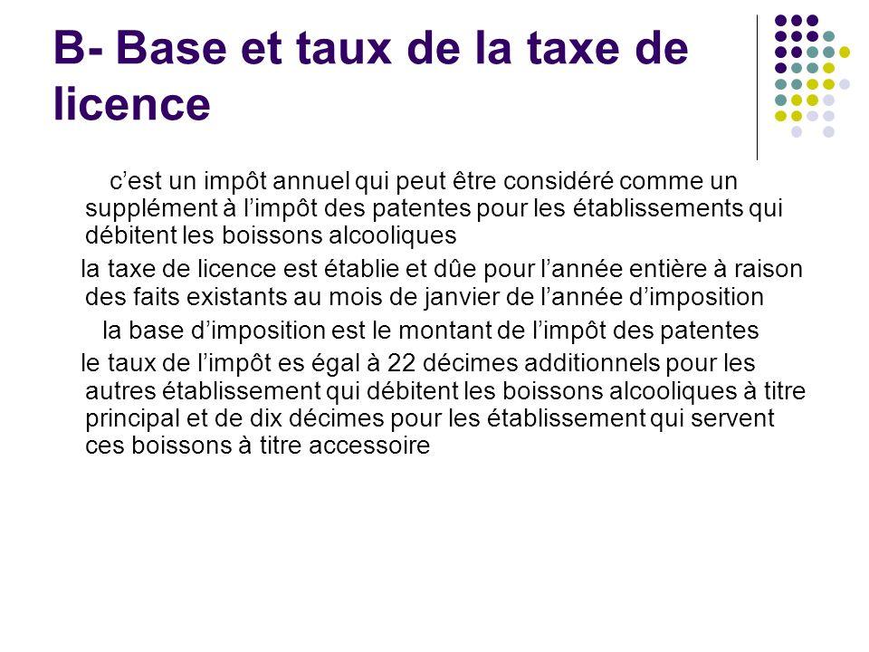 B- Base et taux de la taxe de licence