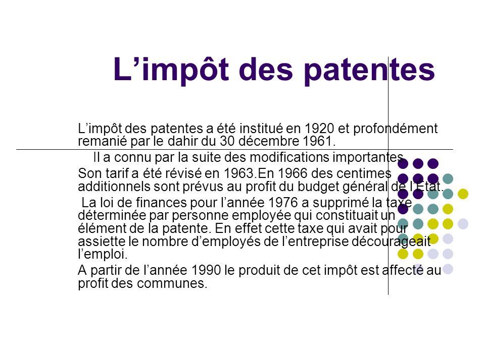 L'impôt des patentes L'impôt des patentes a été institué en 1920 et profondément remanié par le dahir du 30 décembre 1961.