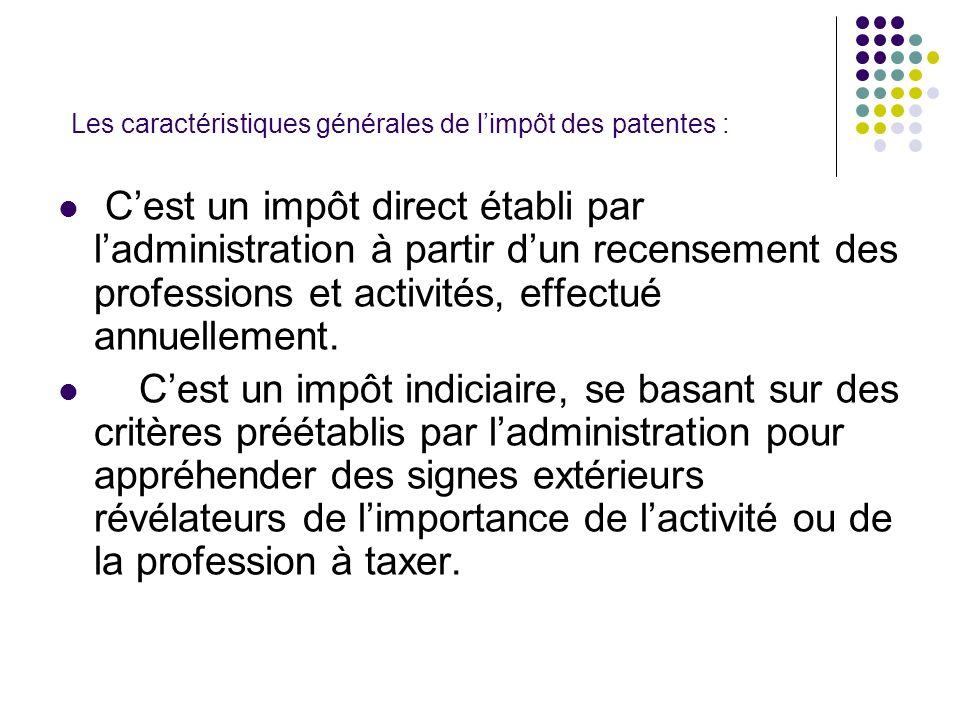 Les caractéristiques générales de l'impôt des patentes :