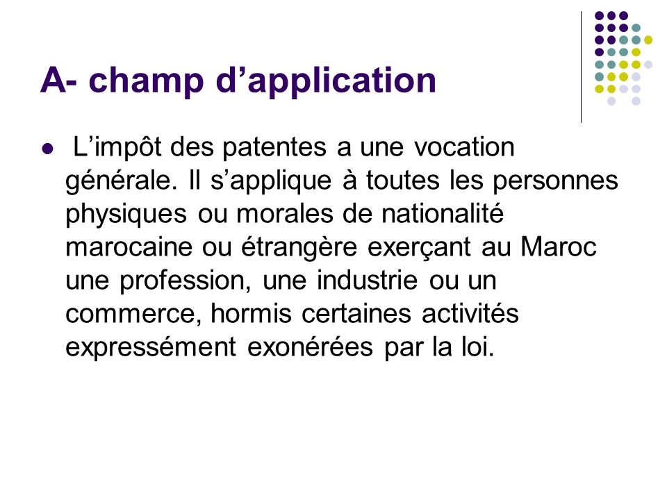 A- champ d'application