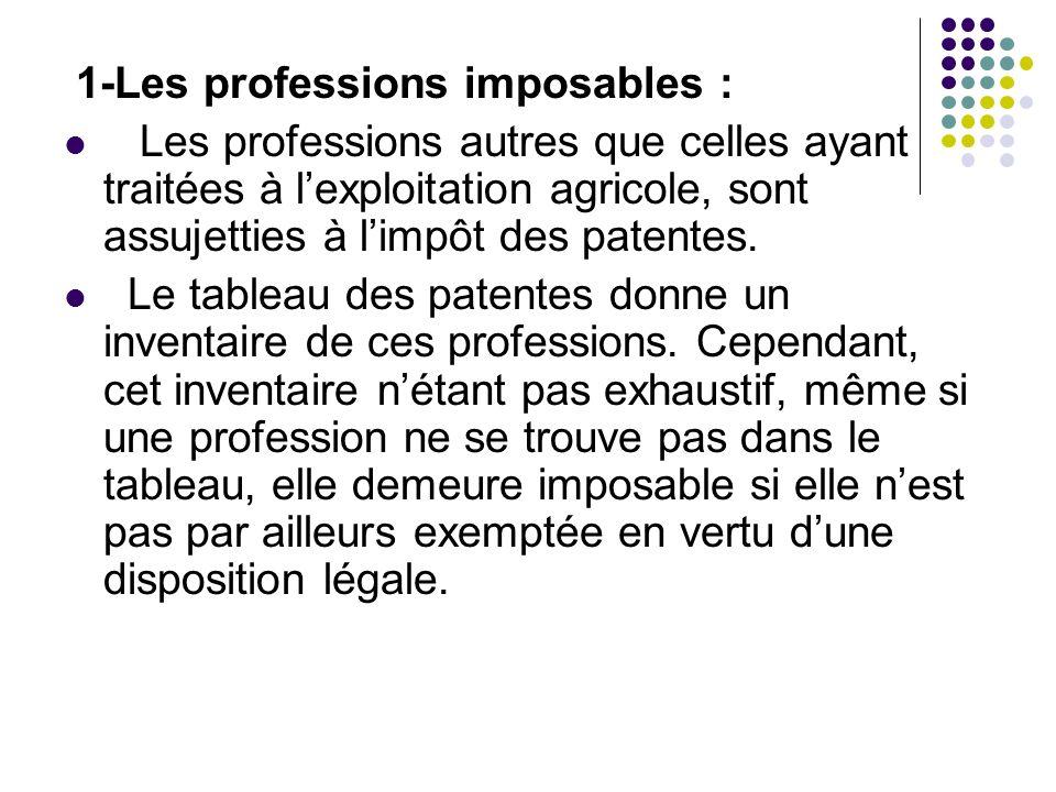 1-Les professions imposables :