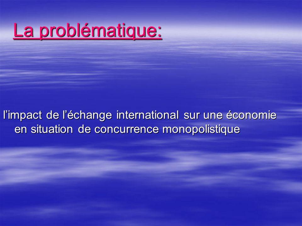 La problématique: l'impact de l'échange international sur une économie en situation de concurrence monopolistique.
