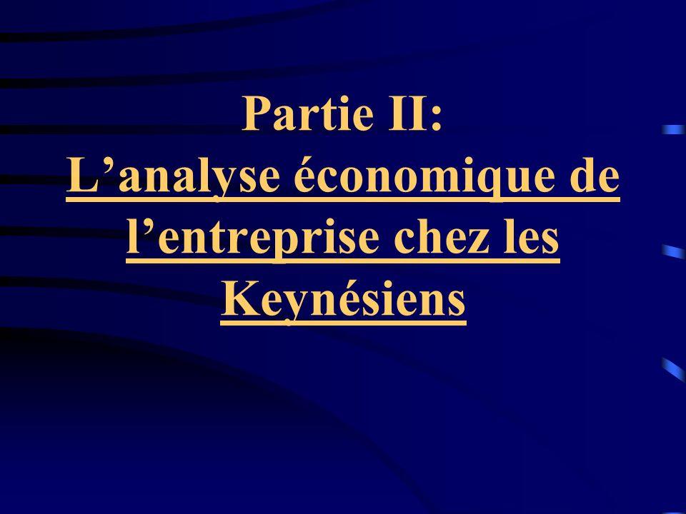 Partie II: L'analyse économique de l'entreprise chez les Keynésiens