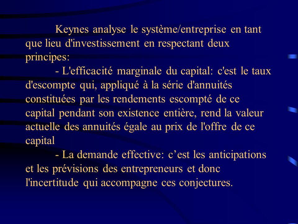 Keynes analyse le système/entreprise en tant que lieu d investissement en respectant deux principes: - L efficacité marginale du capital: c est le taux d escompte qui, appliqué à la série d annuités constituées par les rendements escompté de ce capital pendant son existence entière, rend la valeur actuelle des annuités égale au prix de l offre de ce capital - La demande effective: c'est les anticipations et les prévisions des entrepreneurs et donc l incertitude qui accompagne ces conjectures.