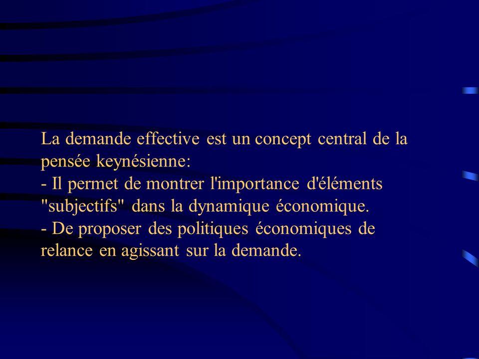 La demande effective est un concept central de la pensée keynésienne: - Il permet de montrer l importance d éléments subjectifs dans la dynamique économique.