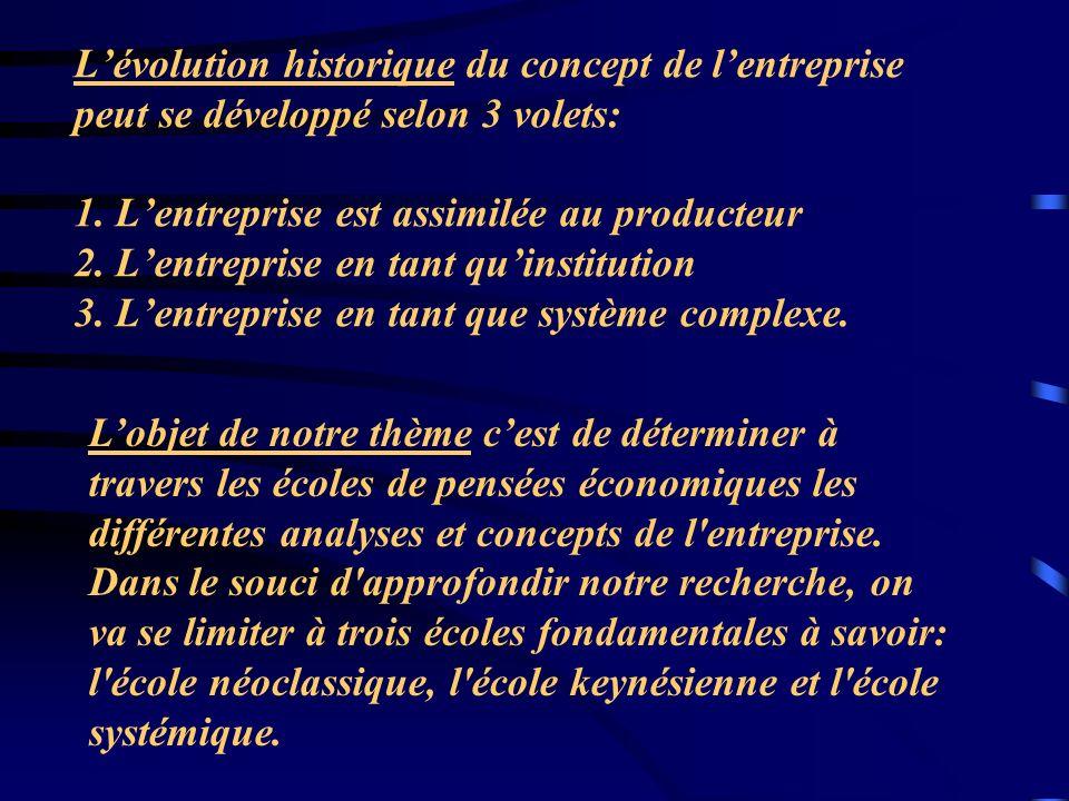 L'évolution historique du concept de l'entreprise peut se développé selon 3 volets: 1. L'entreprise est assimilée au producteur 2. L'entreprise en tant qu'institution 3. L'entreprise en tant que système complexe.