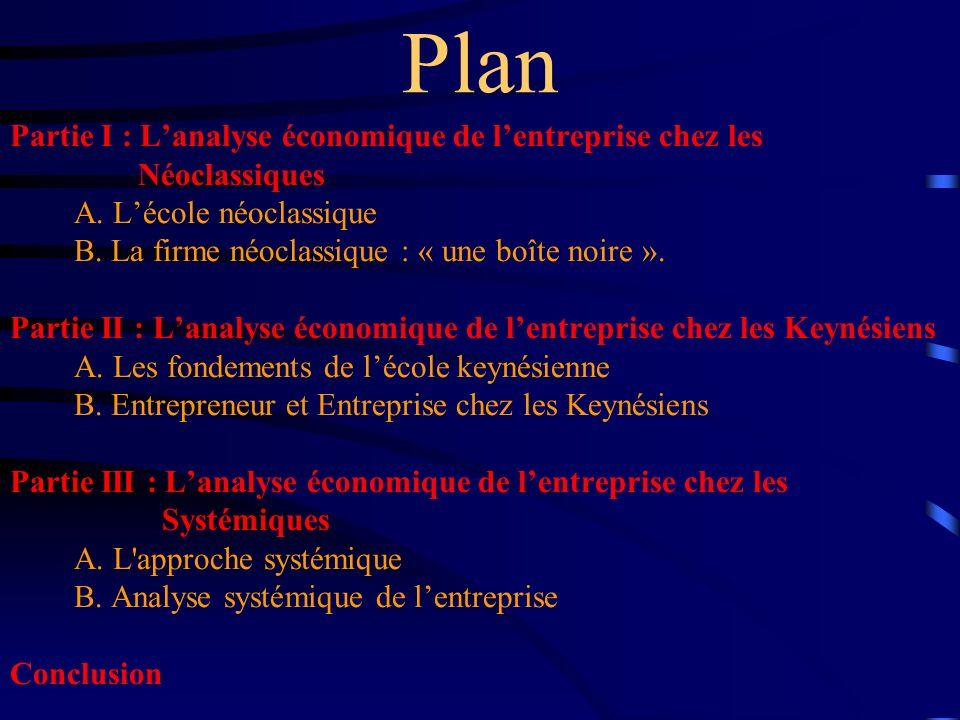 Plan Partie I : L'analyse économique de l'entreprise chez les