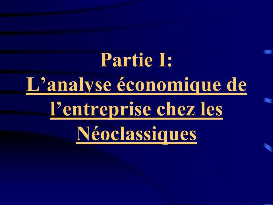 Partie I: L'analyse économique de l'entreprise chez les Néoclassiques