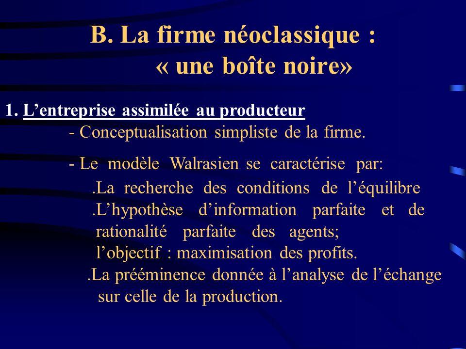 B. La firme néoclassique : « une boîte noire»