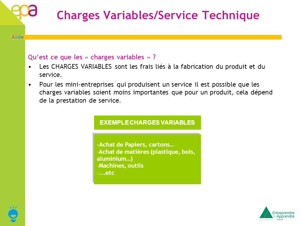 Charges Variables/Service Technique