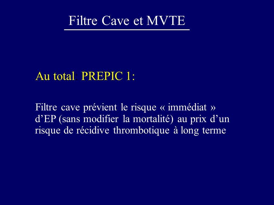Filtre Cave et MVTE Au total: PREPIC 1: