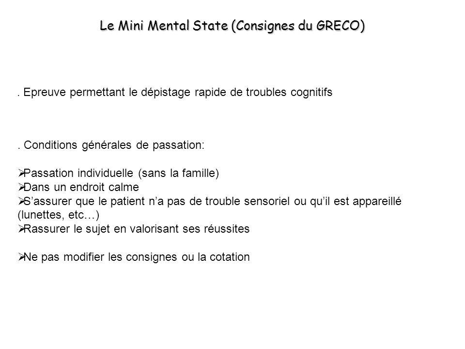 Le Mini Mental State (Consignes du GRECO)