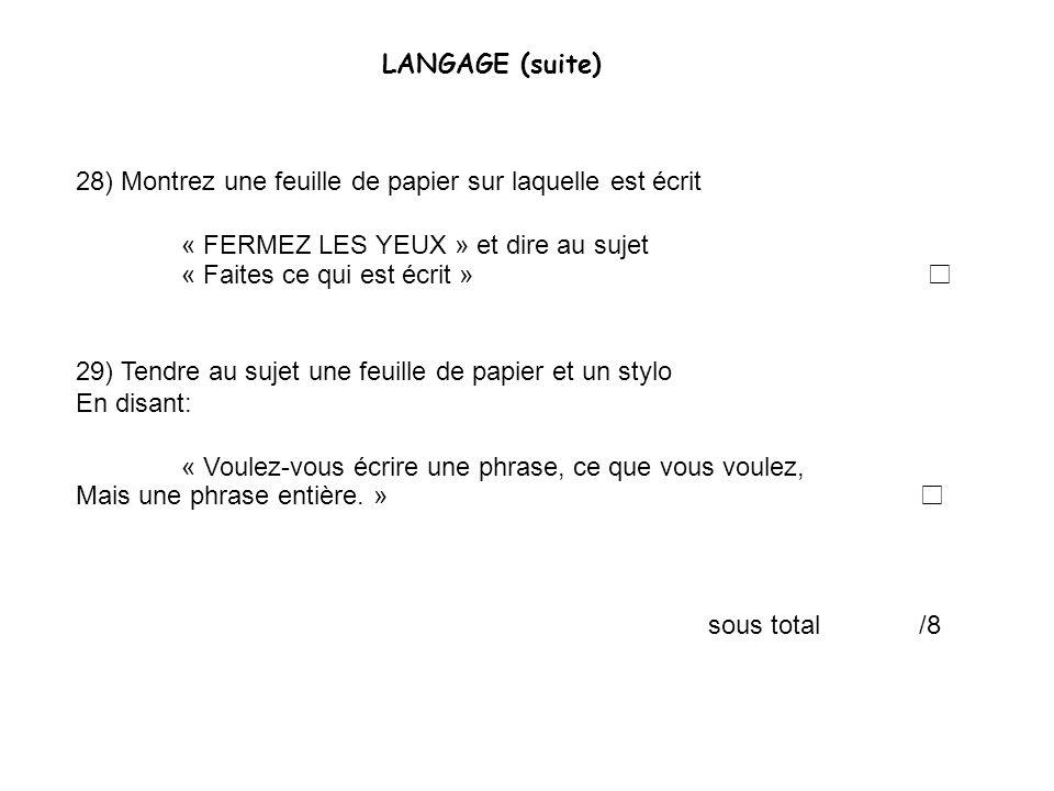 LANGAGE (suite) 28) Montrez une feuille de papier sur laquelle est écrit. « FERMEZ LES YEUX » et dire au sujet.
