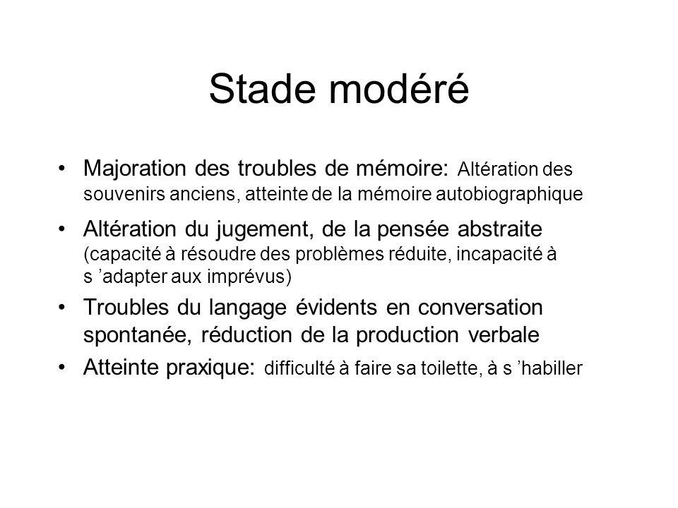 Stade modéré Majoration des troubles de mémoire: Altération des souvenirs anciens, atteinte de la mémoire autobiographique.