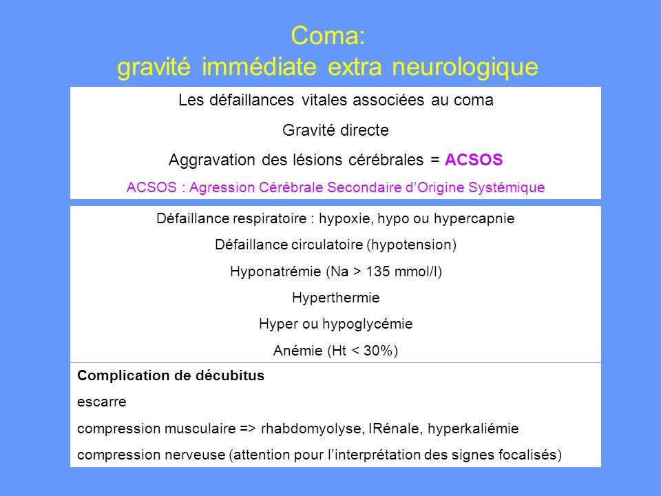 Coma: gravité immédiate extra neurologique
