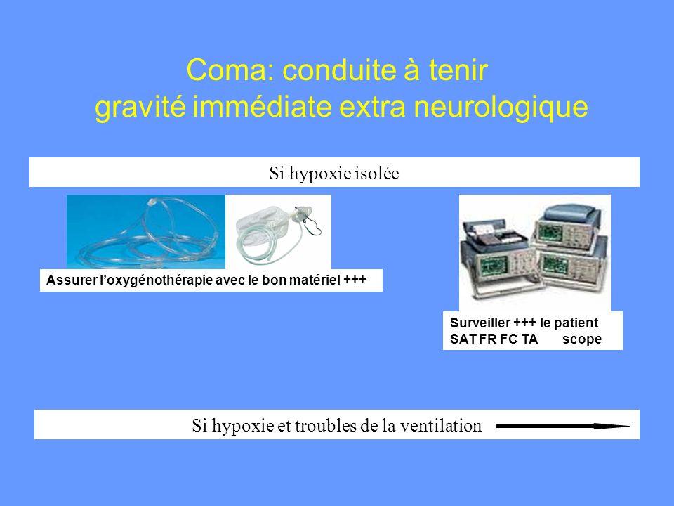 Coma: conduite à tenir gravité immédiate extra neurologique