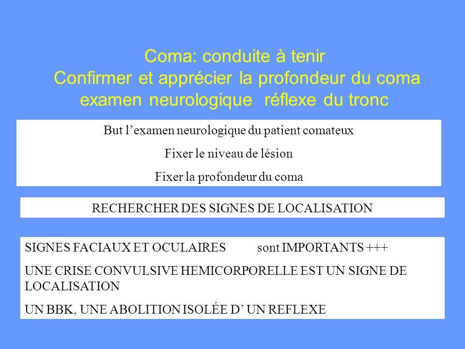 Coma: conduite à tenir Confirmer et apprécier la profondeur du coma examen neurologique réflexe du tronc
