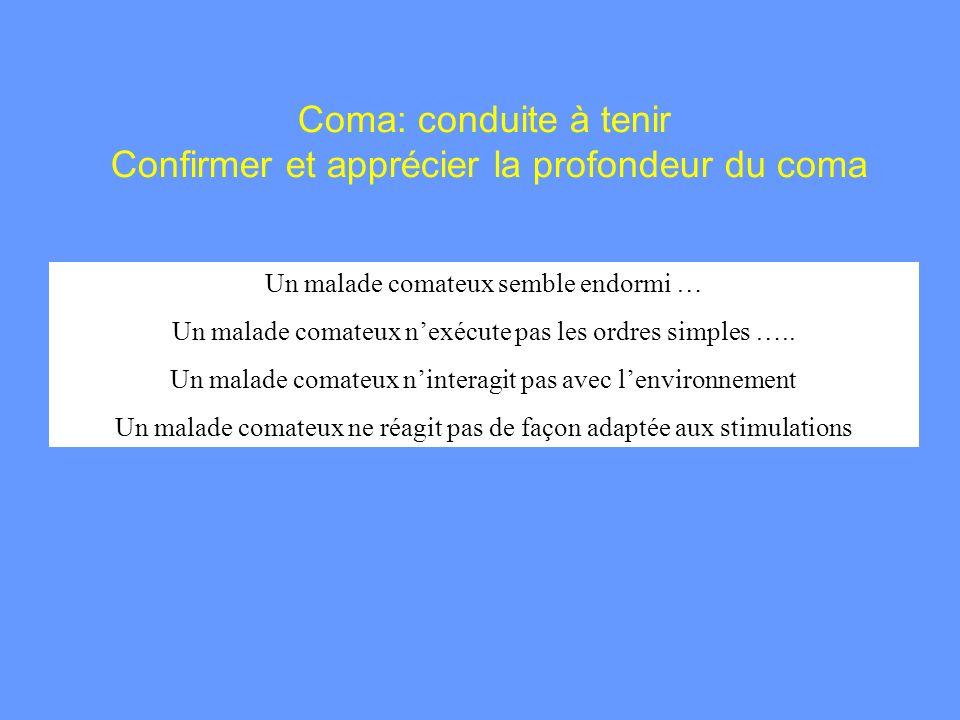Coma: conduite à tenir Confirmer et apprécier la profondeur du coma