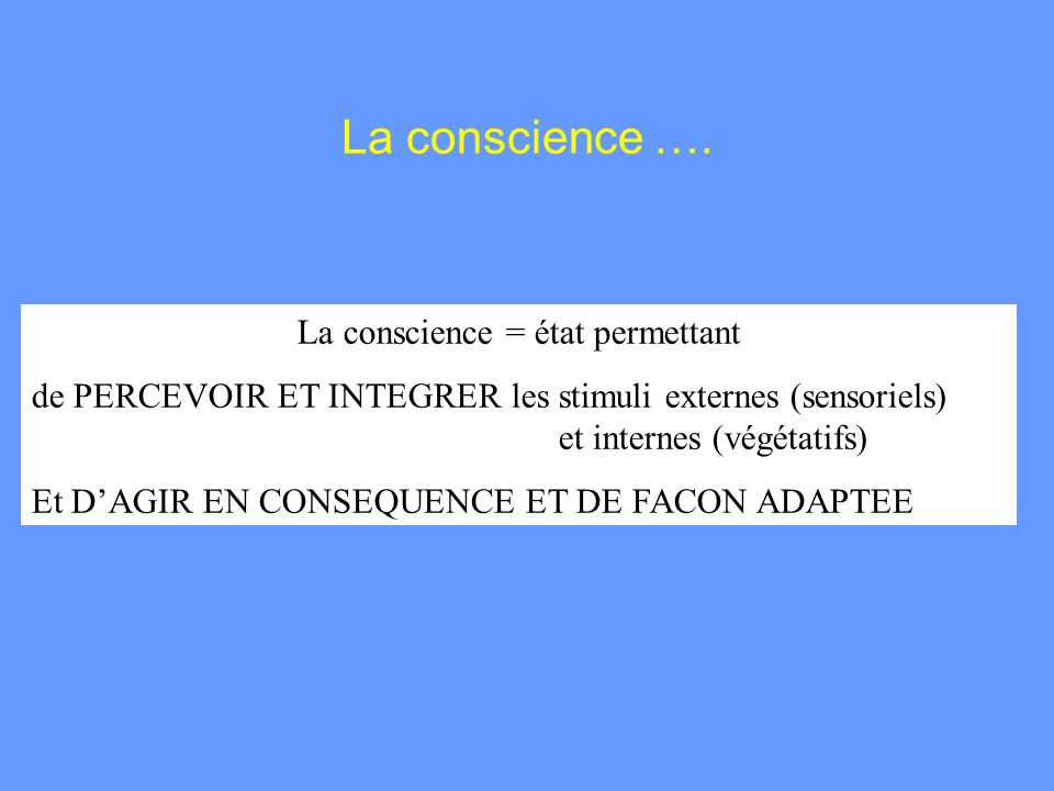 La conscience = état permettant