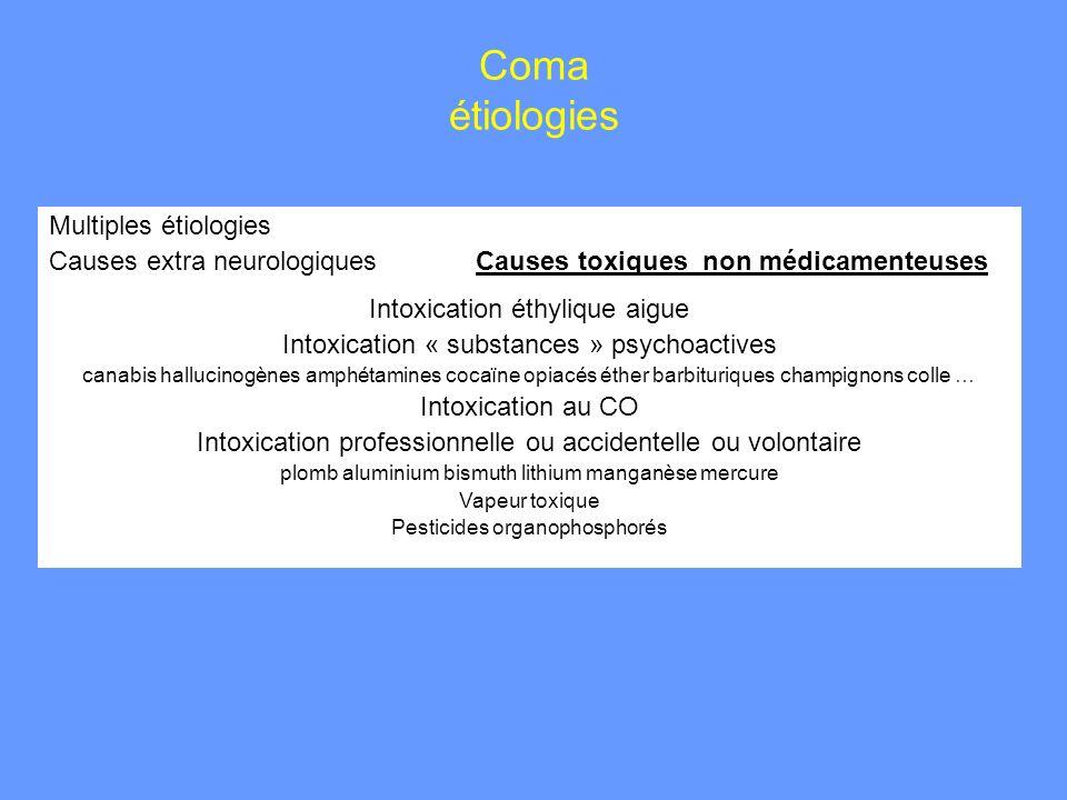 Coma étiologies Multiples étiologies