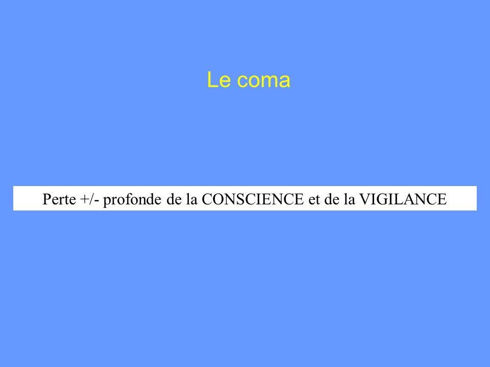 Perte +/- profonde de la CONSCIENCE et de la VIGILANCE