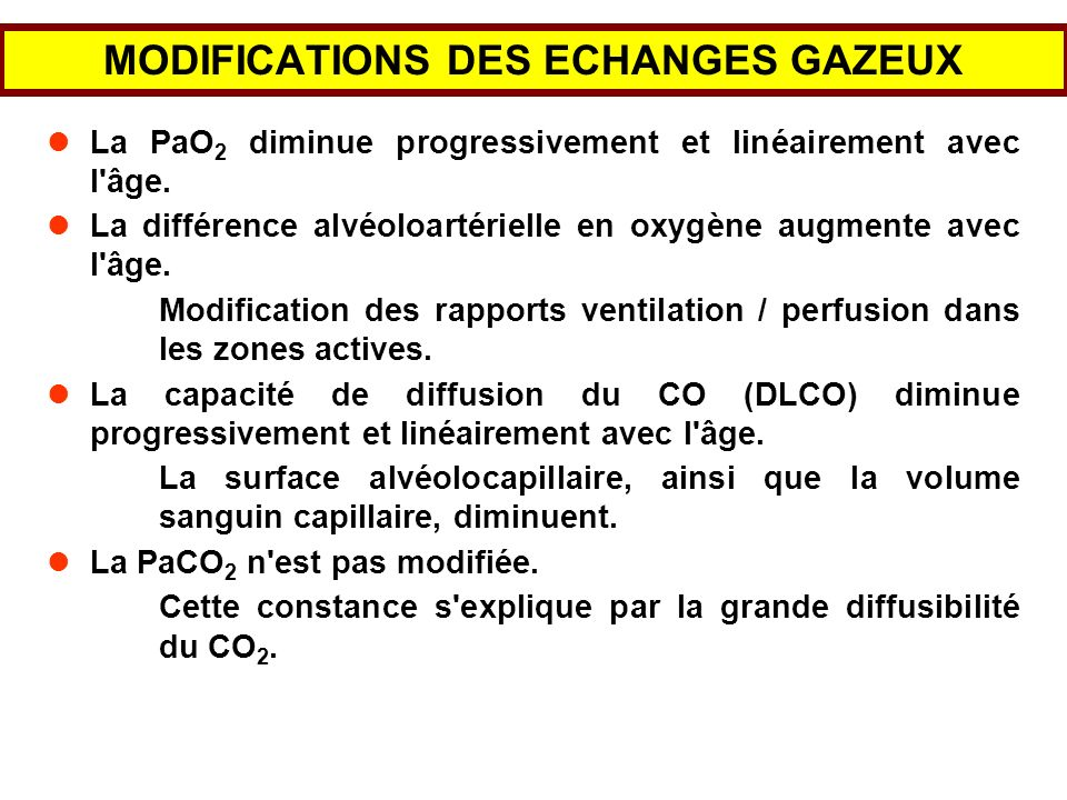 MODIFICATIONS DES ECHANGES GAZEUX