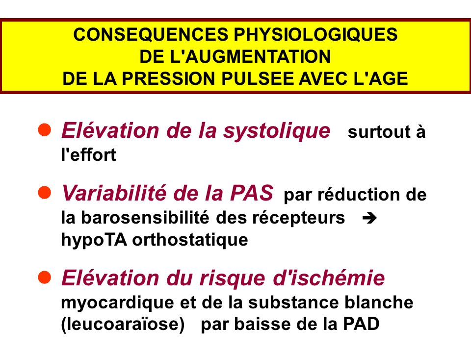 CONSEQUENCES PHYSIOLOGIQUES DE LA PRESSION PULSEE AVEC L AGE