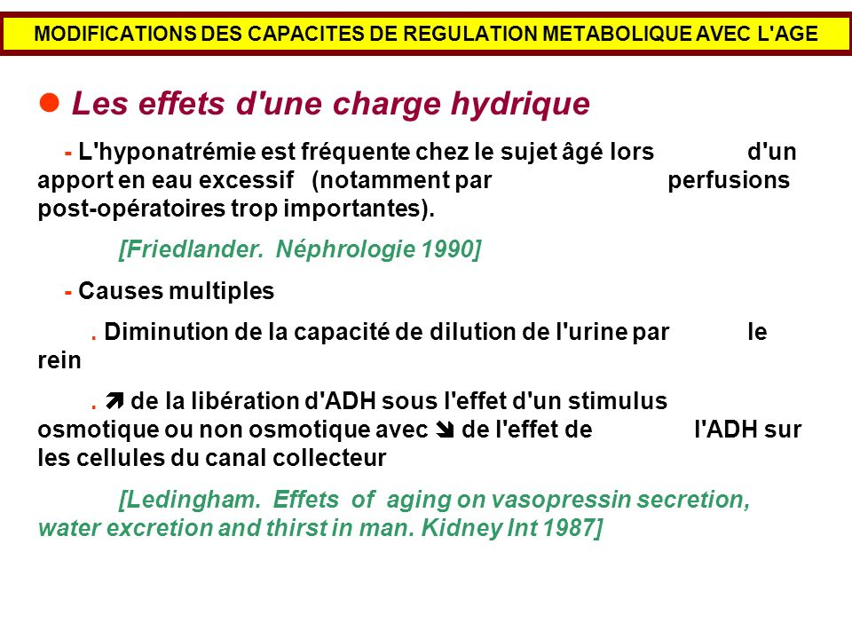 MODIFICATIONS DES CAPACITES DE REGULATION METABOLIQUE AVEC L AGE