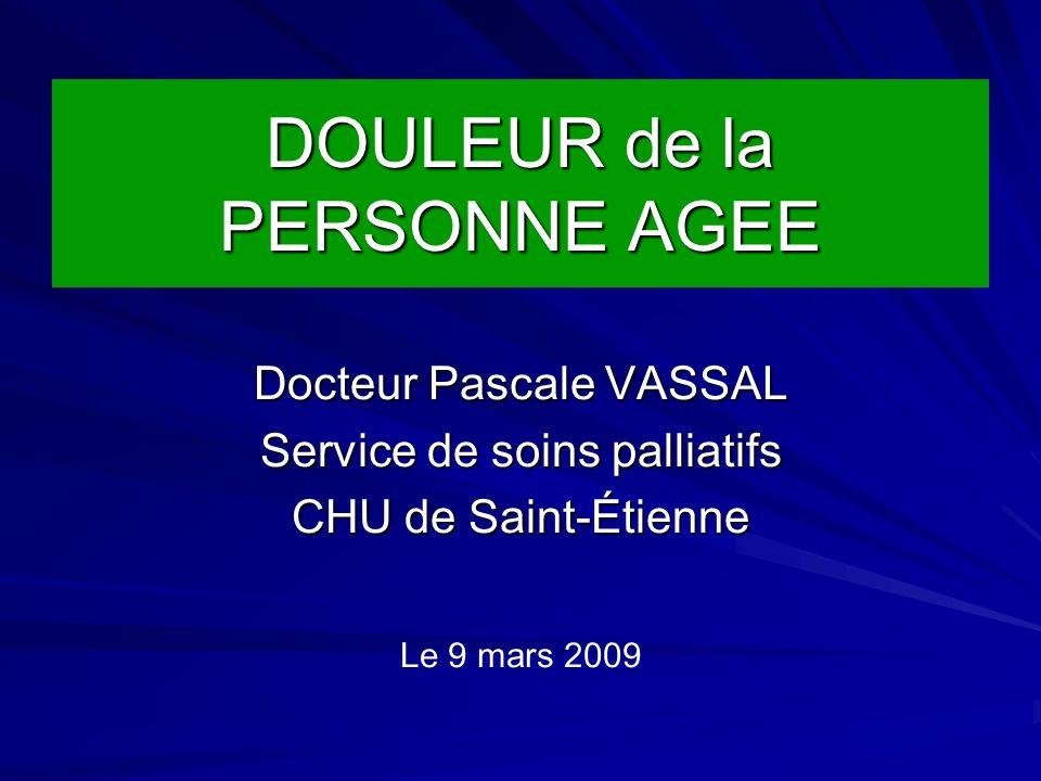 DOULEUR de la PERSONNE AGEE