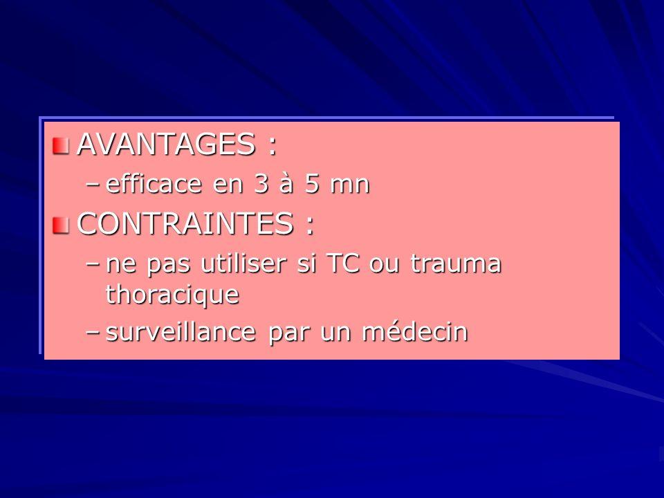 AVANTAGES : CONTRAINTES : efficace en 3 à 5 mn