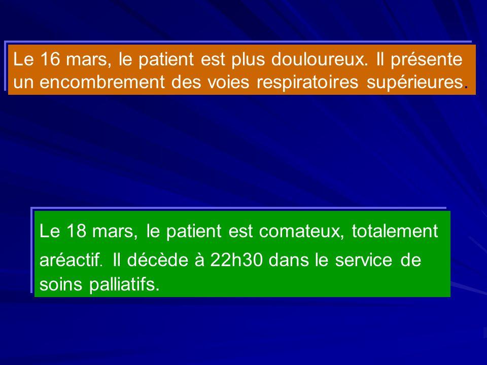 Le 16 mars, le patient est plus douloureux. Il présente