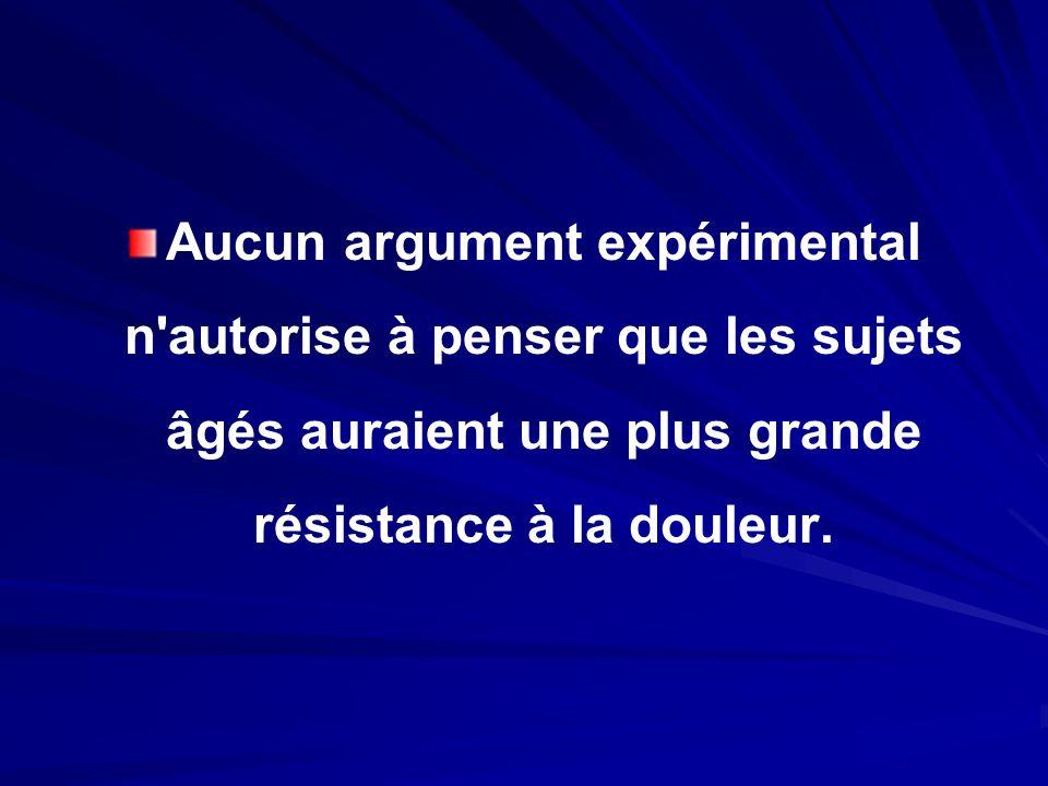Aucun argument expérimental n autorise à penser que les sujets âgés auraient une plus grande résistance à la douleur.
