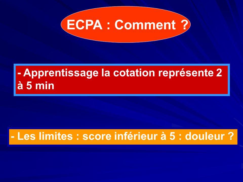 ECPA : Comment - Apprentissage la cotation représente 2 à 5 min