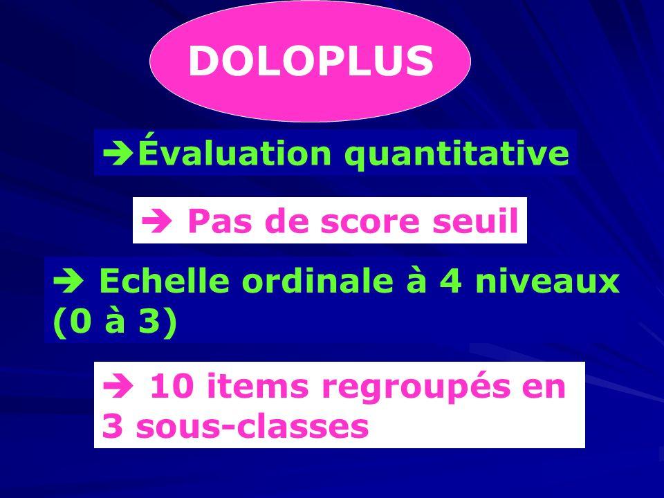 DOLOPLUS Évaluation quantitative  Pas de score seuil