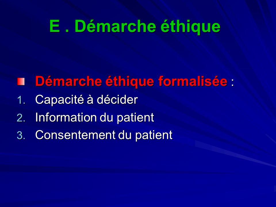 E . Démarche éthique Démarche éthique formalisée : Capacité à décider