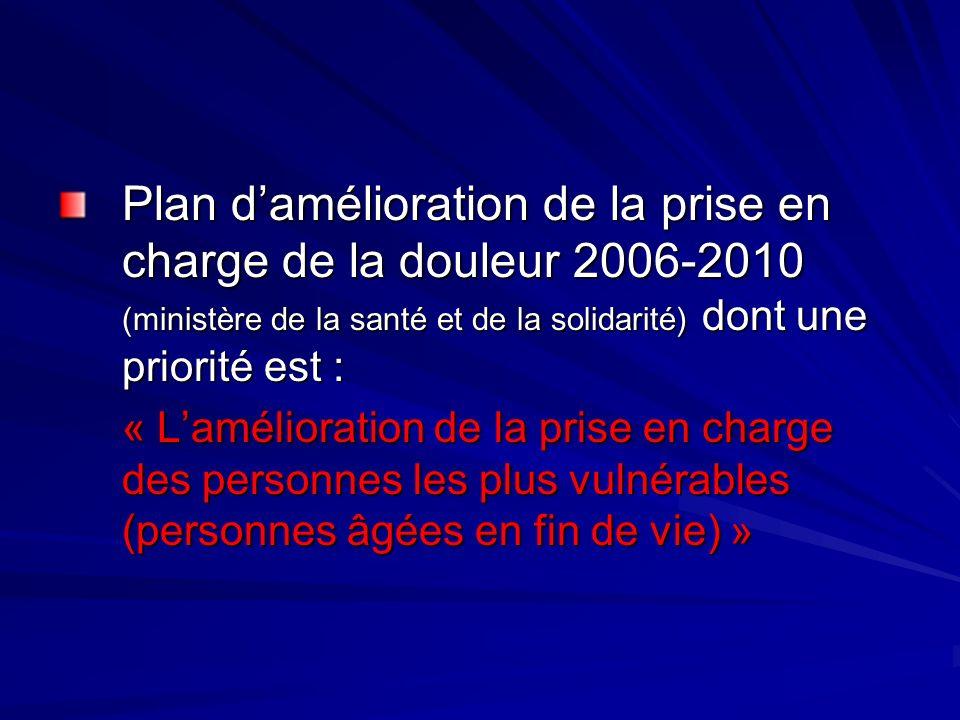 Plan d'amélioration de la prise en charge de la douleur 2006-2010 (ministère de la santé et de la solidarité) dont une priorité est :